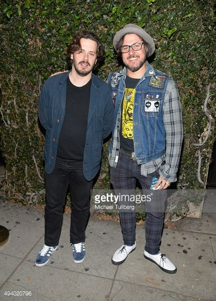 Directors Edgar Wright and Corin Hardy attend a screening of IFC Midnight's 'The Hallow' at Cinefamily on October 23, 2015 in Los Angeles, California. Wearing Tracey Neuls