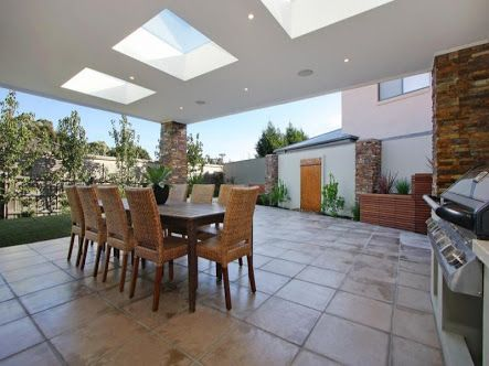 Some alfresco areas can make inside there house a little dark - add sky lights in the alfresco area to allow more light.