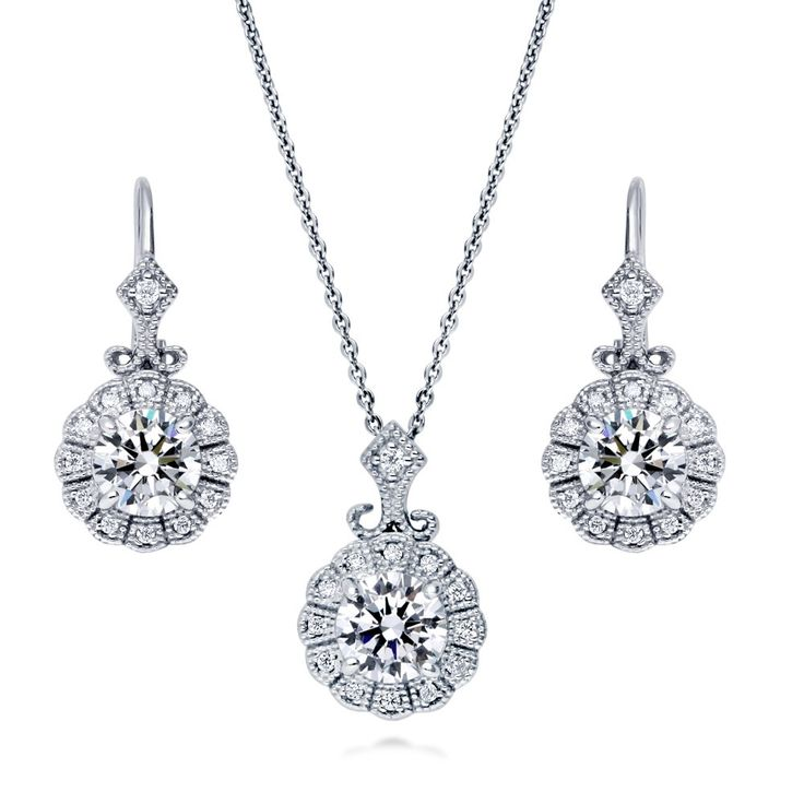 Silver Plated CZ Solitaire Pearl Drop Necklace & Stud Earrings Set Gift Present k0Ufl