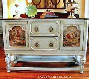 Create unique French Country Cottage furniture using Mod Podge & fabric...an inexpensive idea to turn an old piece of furniture into a treasured heirloom.