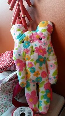 Hello World, i m Breezy, a 100% hand-sewn bear. I stand a a height of 31cm n has a width of 14cm. I m made from a towel fabric. I love to be cuddled n hugged. Would u like to adopt me?