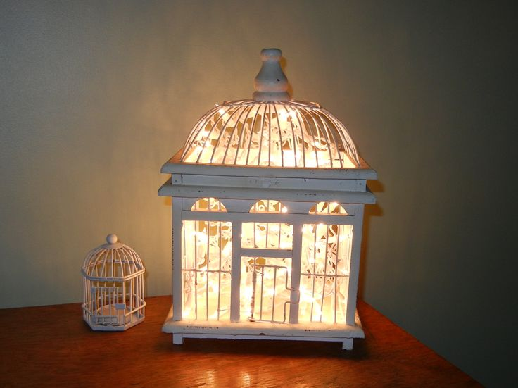 Fairy Light Bird House. Really pretty and very simple idea.  :)