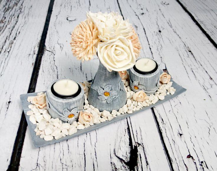 Wooden candleholders set centerpiece plate holders vase