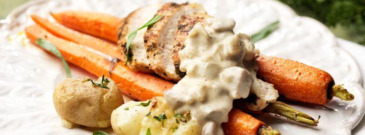 Hemkop.se | Vinägerrostade knippmorötter med stekt kycklingfilé