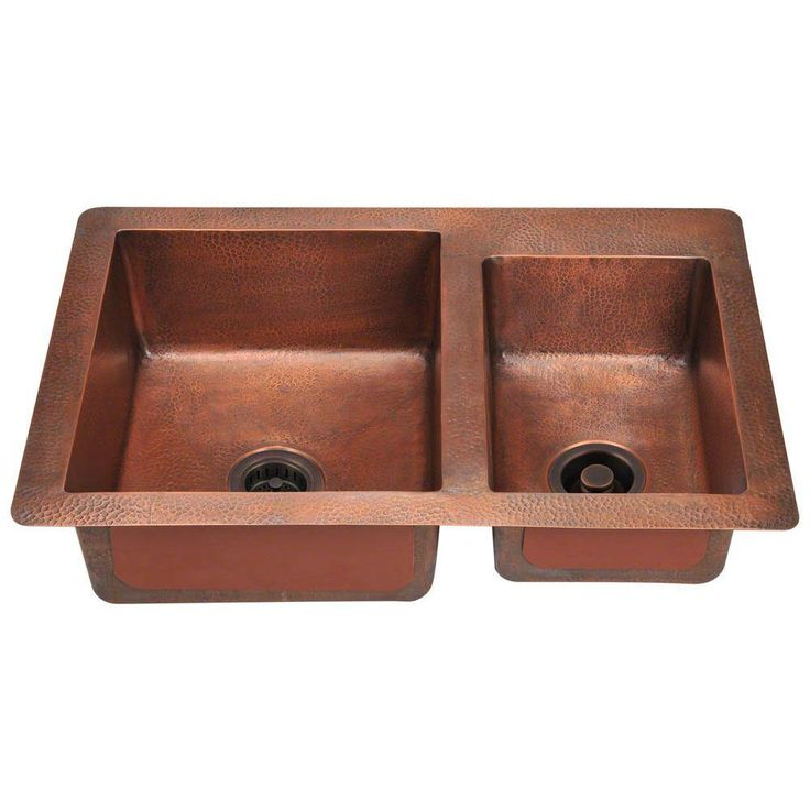 Undermount Copper Brown 33 In Double Bowl Kitchen Sink
