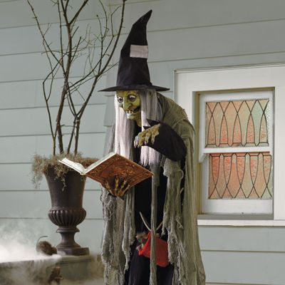 Life-size Animated Spell Casting Witch Figure - looked up the video. This thing is amazing.   Grandin Roads has some of the BEST Halloween stuff I have ever seen hands down. Quality is superb!