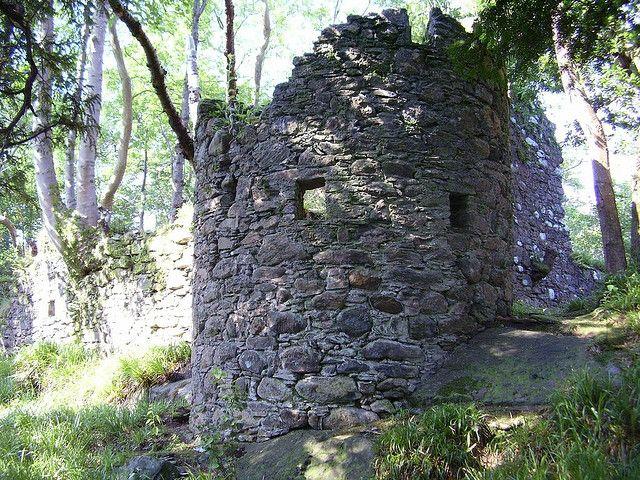 MacFarlane Clan's Inveruglas Castle ruins off Loch Lomond, north of Tarbet