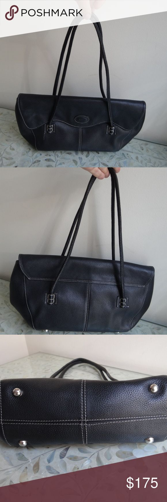 Tod's mini petite shoulder bag black Wave Bag preloved black Wave Bag mini handbag foldover close w/magnetic clasp, 1 interior zipped compartment contrast white stitching no dustbag offers are welcome comes from a smoke- and pet-free home Tod's Bags Shoulder Bags