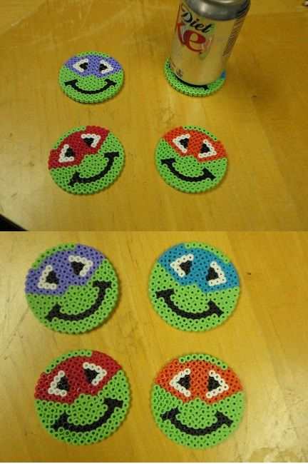 8 bit Ninja Turtle Coasters by kiimberrr on Etsy