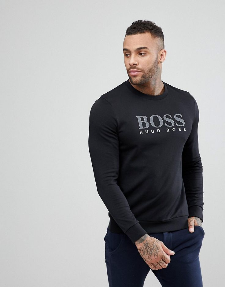 BOSS BY HUGO BOSS TRACKSUIT LONG SLEEVE SWEAT TOP WITH CREW NECK - BLACK. #boss #cloth #
