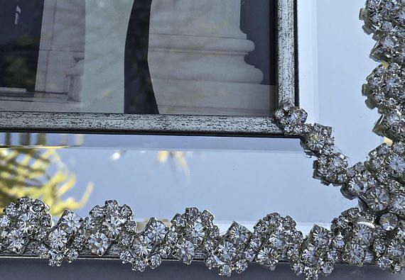 Rhinestone Photo Frame- Art Deco Frame- Unique Gifts- Wedding Gifts- Bridal #Gifts -Picture Frame- Home Decor  The perfect wedding or housewarming gift if you can give it aw... #jewelry #vintage #christmas #gifts #etsy