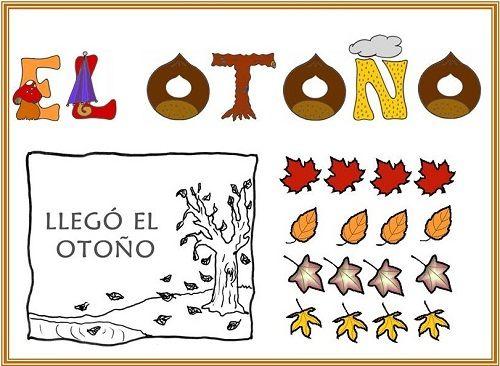 Recursos para el aula: Fichas para colorear del otoño Actividades para la entrada del otoño: Posters, fichas para colorear, marcos para pintar, carteles...