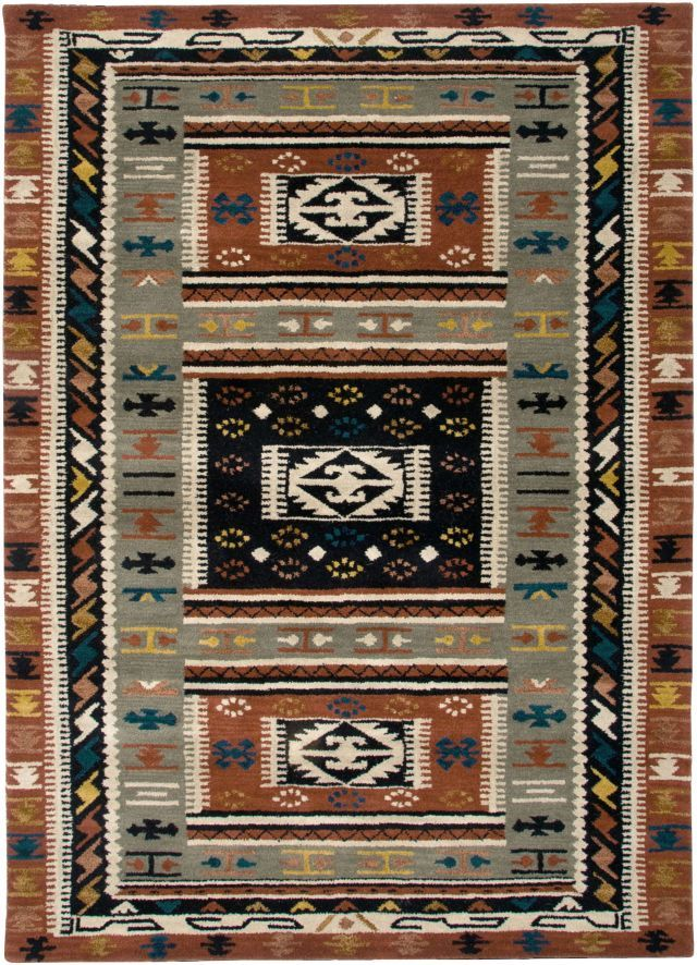Rugstudio Presents Rizzy Southwest Green Hand Tufted Better Quality Area Rug