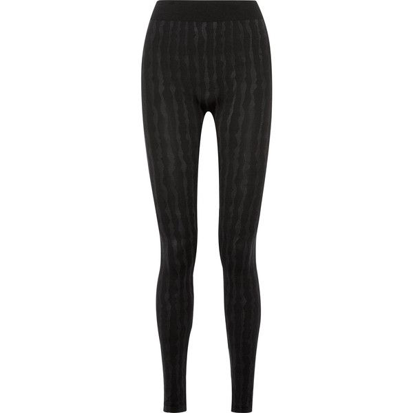 Wolford Striped stretch modal-blend leggings (325 CAD) ❤ liked on Polyvore featuring pants, leggings, black, high waisted stretch pants, stripe leggings, stretch pants, thick waistband leggings and striped leggings