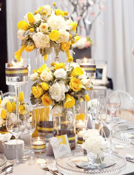 89 best tablescapes centerpieces images on pinterest weddings i think that grey and yellow are one of the classical schemes for wedding decor colorful and elegant such a color scheme is ideal for a spring wedding junglespirit Image collections