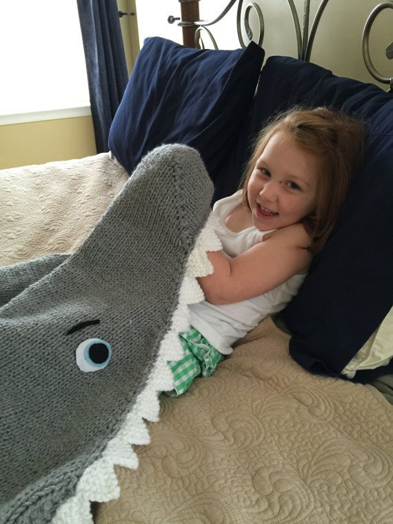 Shark Attack! Lap Blanket for Ages 2 thru 14 Knitting Pattern  INSTANT DOWNLOAD The girls have their mermaid tails. What about their brothers? Who wouldnt