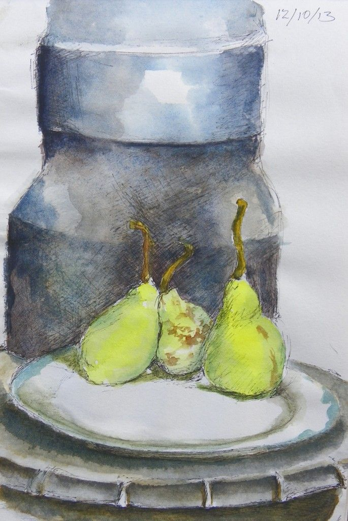 pears on the stove, watercolour