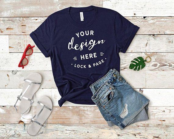 Download Download Free Bella Canvas Navy Blue 3001 Mockup T Shirt Flat Lay Psd Free Psd Mockups Templates Clothing Mockup Comfy Shirts Shirt Mockup