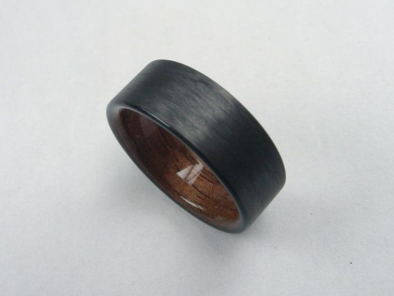mens wedding ring with wood carbon fiber and black walnut bent wood ring