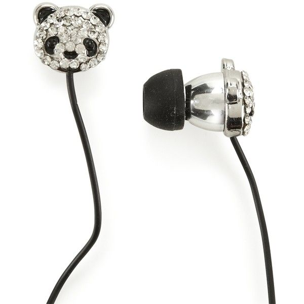 PS From Aeropostale Kids' Panda Face Bling Earbuds (17 NZD) ❤ liked on Polyvore featuring accessories, headphones, electronics, tech and head phones