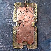 "Handmade Jewelry. Fair Masters - handmade pendant made of copper and brass ""music of the spheres."" Unisex pendant .. Handmade."