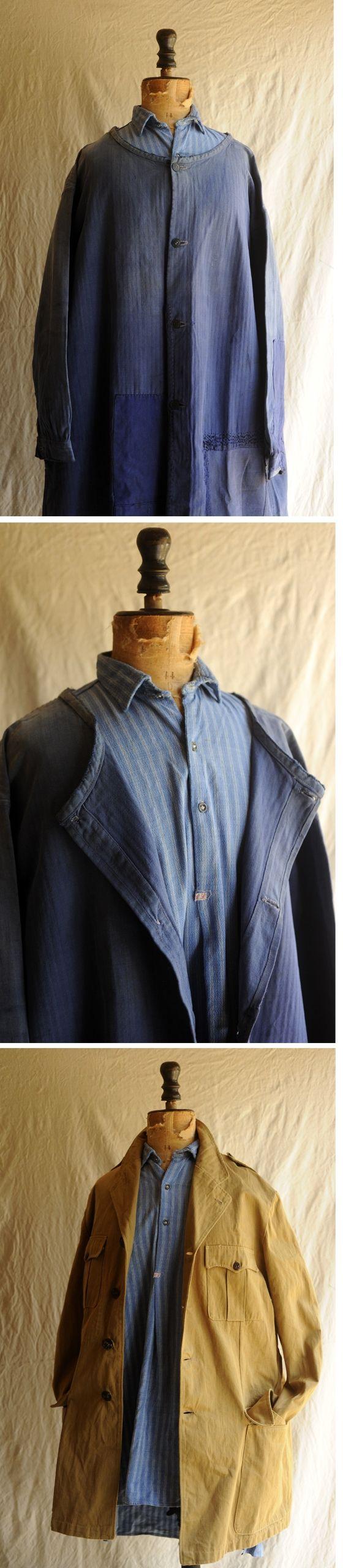 xvpbvx     20's~30's フランス、ストライプワークシャツです。 ブルーベースにパープルライン、ヘリンボーンの様な柄も入る美しい織り柄コットン地、 形の良い襟、グレーの小さく厚いガラスボタン、イニシャル刺繍タグ、 背中微妙に違う柄の大きなパッチワークも面白いです。 綺麗な形で着こなしやすい良い品、なかなか見つからない物ですのでこの機会に如何でしょうか。 SIZE 肩幅 45cm 袖丈 55cm 身幅 58cm 着丈 後ろ91cm 前81cm 衣類ですので素材の特性や厚み、カッティング等、実