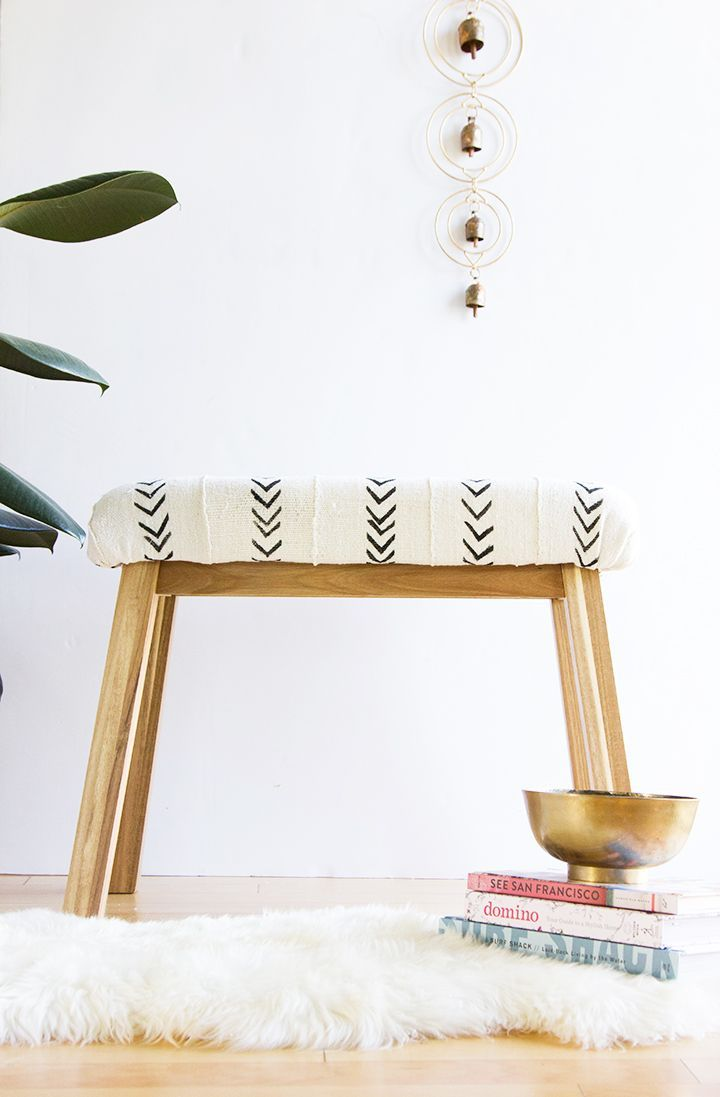 Learn how to make this simple mud cloth covered bench out of an affordable Ikea bench. #ikeahack #diy