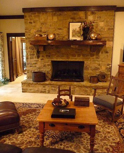 Stone Fireplace Decor...@MandyDiercks