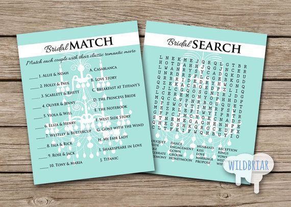 Word Search And Couple Match Up Printable Bridal Shower Games Chandelier Find Famous Turquoise Teal Blue Theme INSTANT DOWNLOAD