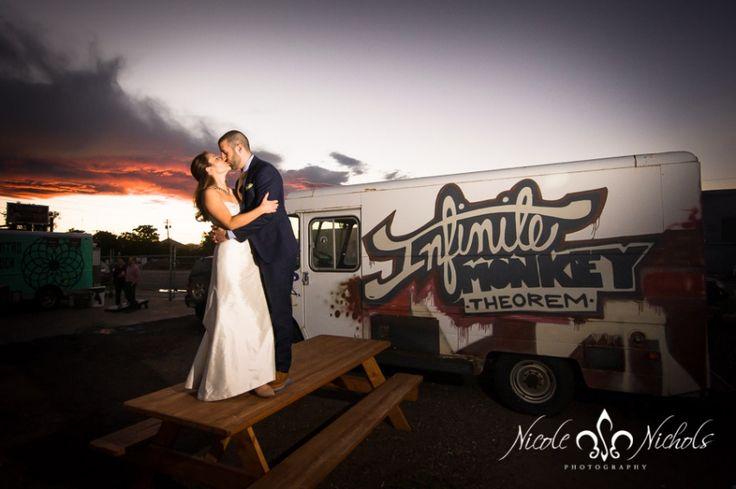 wedding picture at sunset at Infinite Monkey Theorem taken by Denver photographer Nicole Nichols