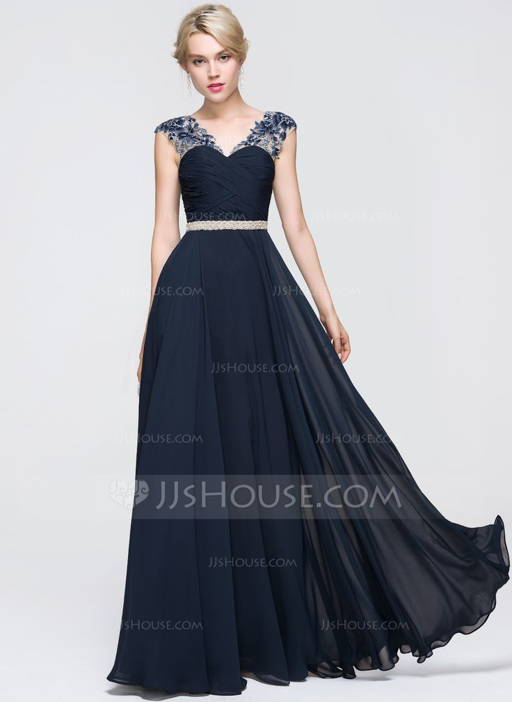 A-Line/Princess V-neck Floor-Length Chiffon Prom Dress With Ruffle Beading Sequins (018089719)