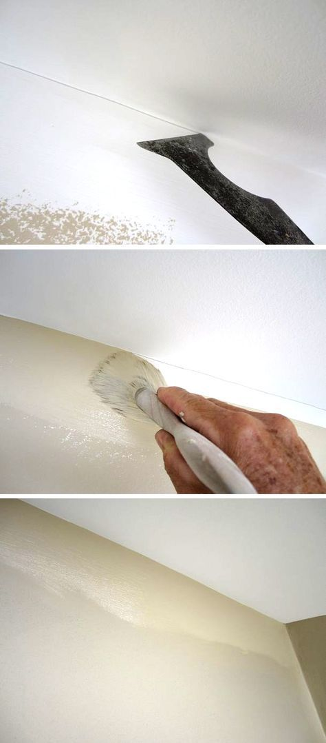 How to paint a straight line at the ceiling like a pro without using any tape. Paint your ceiling first, wrapping the corner. Take your ubiquitous 5-in-1's back edge and gently score a mark. Just use the corner as the naturally flowing guide. Using a 3 inch brush loaded with paint, just cover the line.
