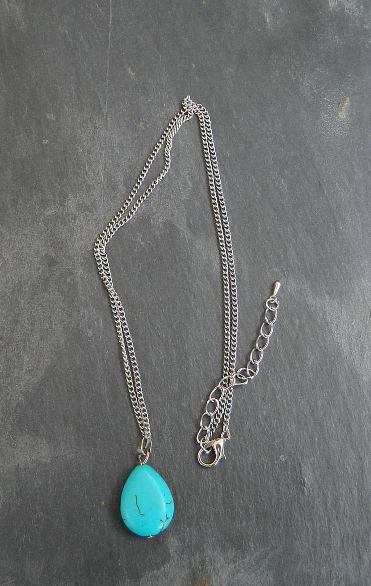 turquoise color necklace, gift for her, charm necklace for a wife, birthday gifts, jewelry gift, jewellery idea for a best friend, by AlsCraftyCorner on Etsy