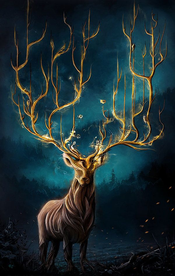 i really like the idea of the antlers resembling a tree/forest because that is what the stag is the king of. So in a way the antlers give the stag a status and make him more superior than the other animals.