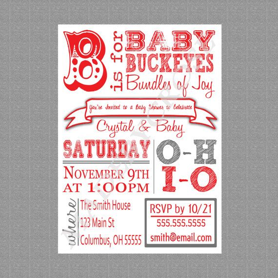 Printable Baby Shower Invitation OSU Baby Shower by MadeByCRose, $12.00