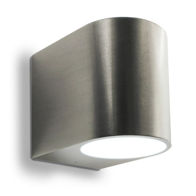 LED Wandleuchte, Wandlampe, Außenleuchte, Aluminium, 1-Flammig, Edelstahl geb., GU10-230V, (Form:G)