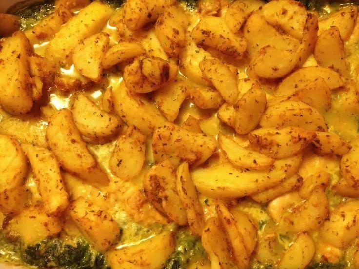 Spinazie, kipfilet en aardappels uit de oven