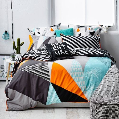 Love the block colours in this quilt cover Ruckus Wanderer - Bedroom Quilt Covers & Coverlets - Adairs Kids online