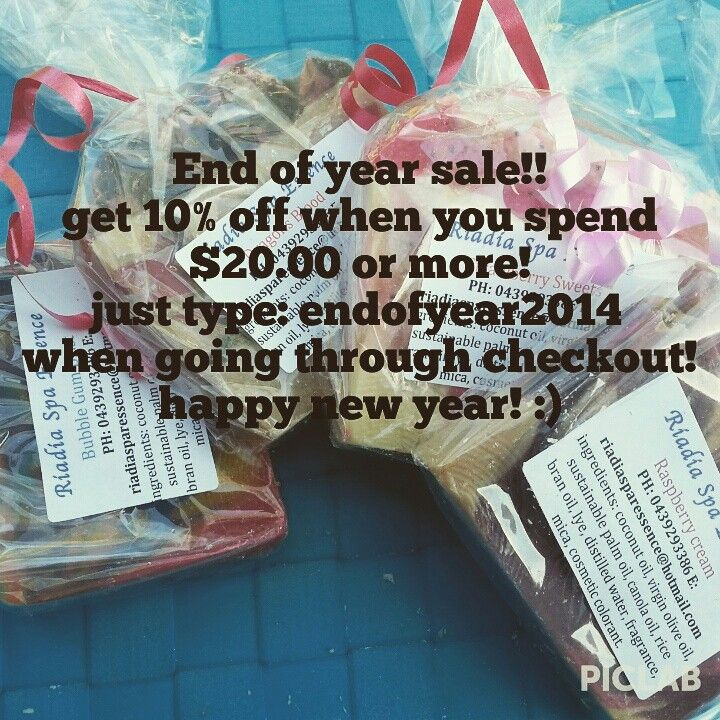 End of year sale, get 10% with any purachase $20.00 or more at my etsy shop! #soap #sale #newyear #newyears #shop #etsy #seller #discount #2014 #organic #vegan #natural #bath #beauty