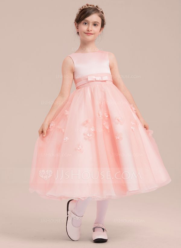 668824dc0fd91 A-Line/Princess Tea-length Flower Girl Dress - Satin/Tulle Sleeveless Scoop  Neck With Beading/Flower(s) (010143263)