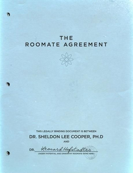 """""""The Roomate Agreement"""" by Dr. Sheldon Lee Cooper, Ph.D"""