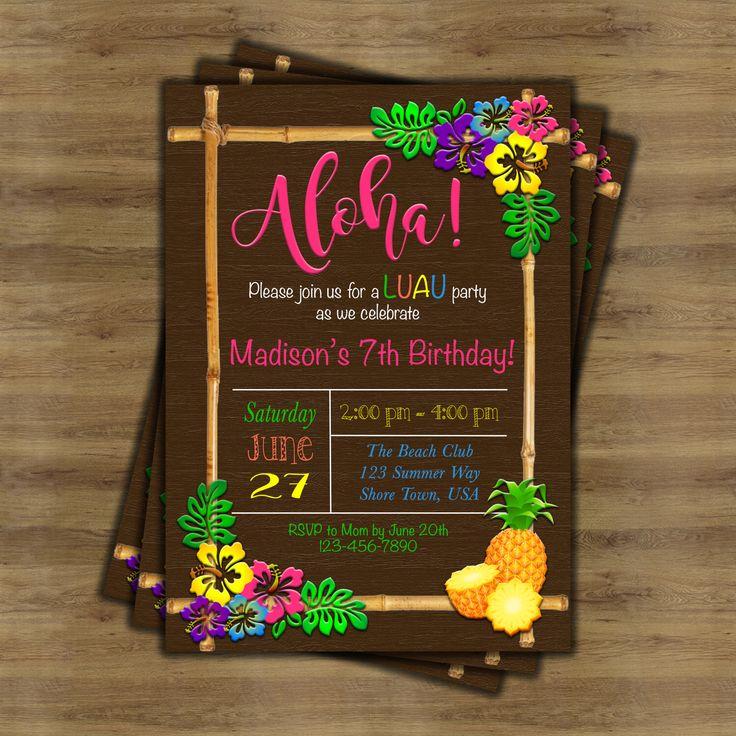 Luau Invitation; Luau Birthday Invitation; Hawaiian Invitation; Hawaiian Party Invitations; Tropical Invitation; Tiki Party Invitation by SophisticatedSwan on Etsy https://www.etsy.com/listing/291942037/luau-invitation-luau-birthday-invitation