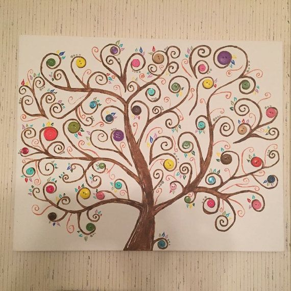 This is a tree painted on a canvas free hand with button accents. It had very dainty detail and is a great attention getter. Its colorful, but not too flashy.