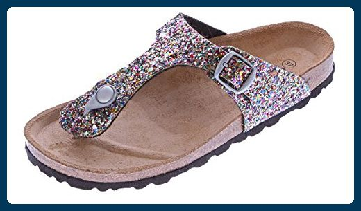 Damen Bio Pantoletten Gemini Zehentrenner Glitzer-Effekt Pink-Multi Sandalen Leder-Kork-Fußett Schuhe Latschen 38 - Clogs für frauen (*Partner-Link)
