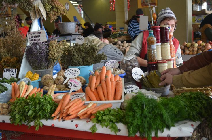 Farmer's market in Bucharest with locally produced veggies and herbs