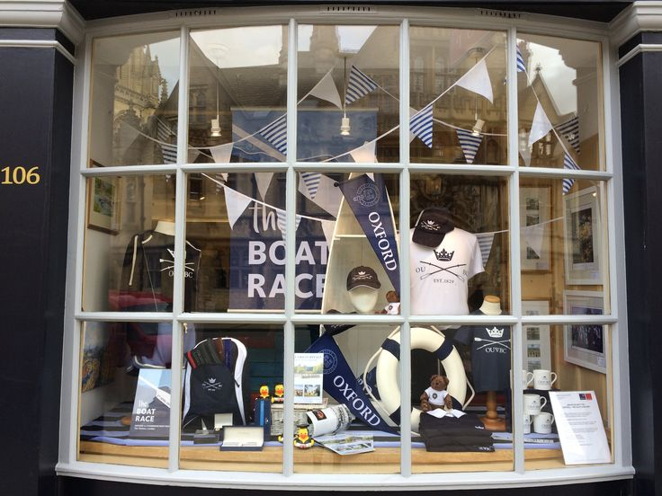 The University of Oxford shop at 106 High Street, Oxford.  Boat Race window 2017 featuring exclusive OUBC and OUWBC merchandise.  Profits from sales are returned to the clubs and the University.