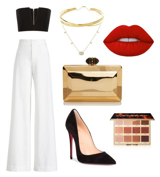 """""""Date night"""" by ralucapopa-1 on Polyvore featuring Balmain, Ralph Lauren Collection, Christian Louboutin, Lana Jewelry, Gucci, tarte and Lime Crime"""