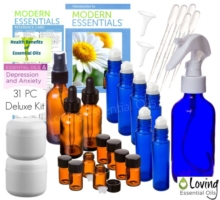 LOVING ESSENTIAL OILS 31 PC DELUXE KIT This 31 PC Deluxe Kit gives you key supplies that you need to start utilizing your essential oils for aromatherapy, homemade beauty products and natural home rem