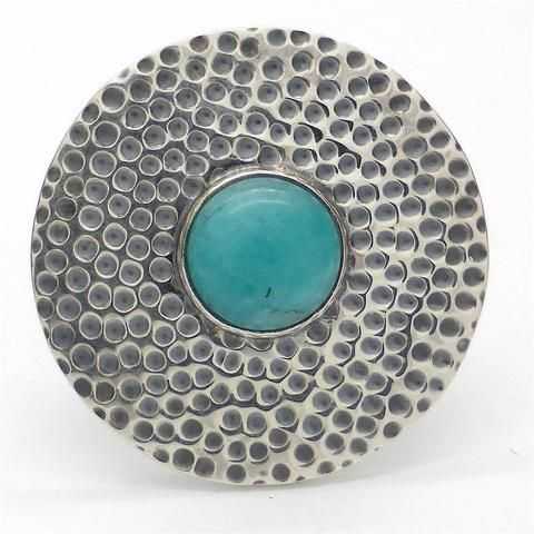 Turquoise Ring in Beaten 925 Sterling Silver Disc |Style and Stone | Crystal Heart Melbourne Australia since 1986