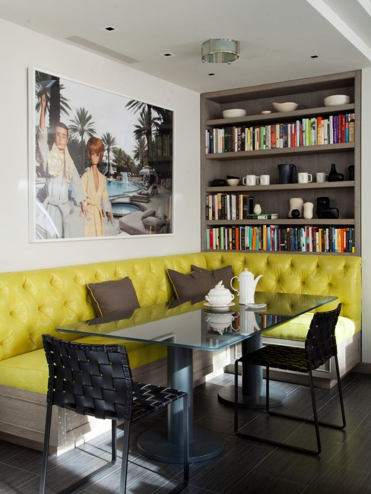 Breakfast Nook With Yellow Tufted Bench And Bookcase Amanda Nisbet